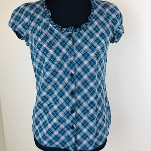 💙St JOHNS Bay💙Plaid Button Down Blouse  Cap Slv
